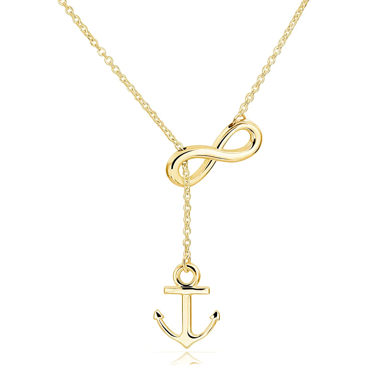ELBLUVF Newest Stainless Steel Anchor Infinity Y Shaped Lariat Style Necklace 18inch for Women 3 Colors ELBLUVF emily a029