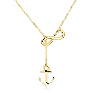 Amazon Elbluvf Stainless Steel Gold Plated Anchor And Infinity