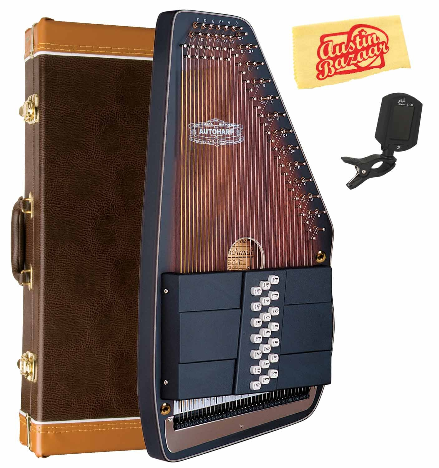 Oscar Schmidt OS110-21AE 21 Chord The Americana Autoharp with Fine Tuning System and Passive Pickup Bundle with Hard Case, Tuner, and Polishing Cloth