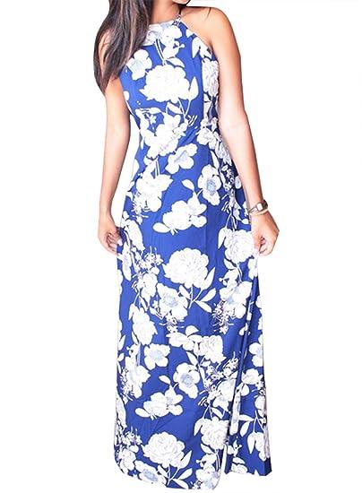Women Summer Halter Boho Chiffon Beach Long Maxi Dress at Amazon Women s  Clothing store  12bf4a792