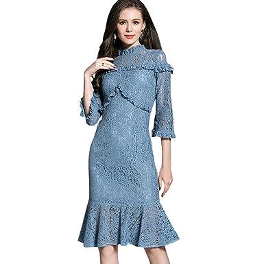 URKFKJD Party Dress Trumpet Dresses Female Stand Neck Patch Work Lace Vestidos Three Quarter Robe