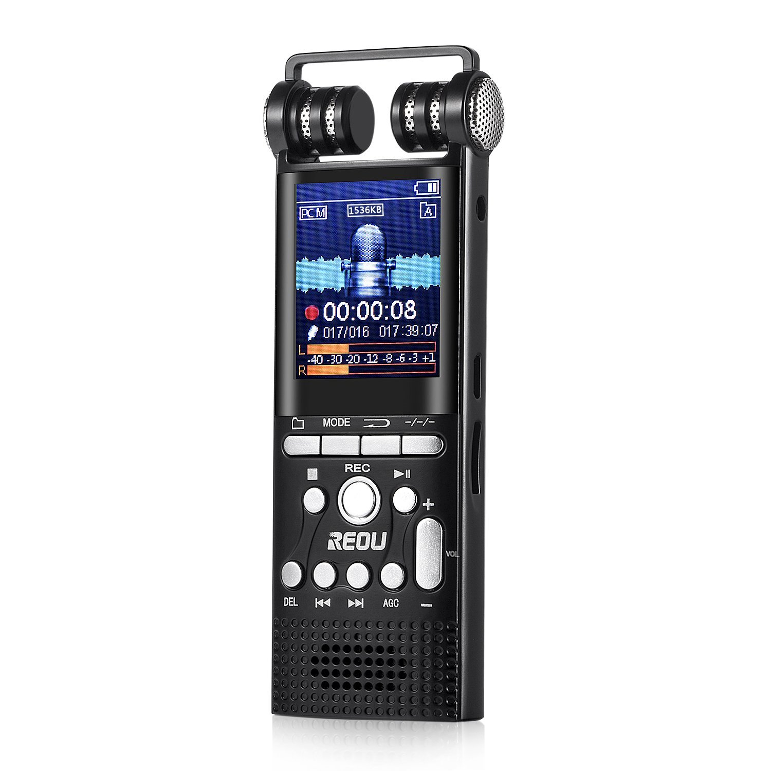 REOU Digital Voice Recorder Smartphone Landline Call Sound Recorder, 4GB Voice Activated Recorder with MP3 Player, DSP Noise Reduction, Up to 128GB, for Interview, Learning, etc.