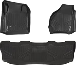 MAXLINER Floor Mats 2 Row Liner Set Black for 1999-2007 Ford F-250 / F-350 / F-450 Super Duty Crew Cab