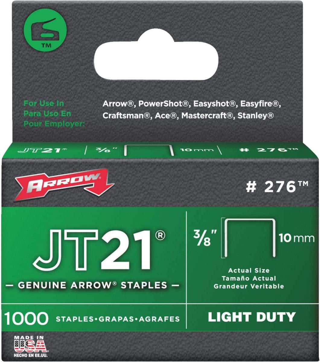 3//8in JT21 T27 Staples 10mm Box 1000 ARRJT2138S Hand Tackers /& Staplers
