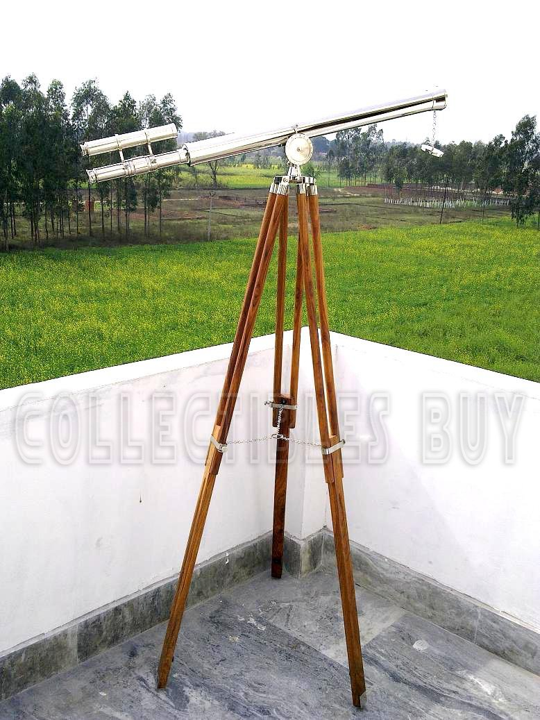 Collectibles Antique Vintage Telescope Nickel Finish Harbour Tripod Brown Royal Decorative Authentic Gift