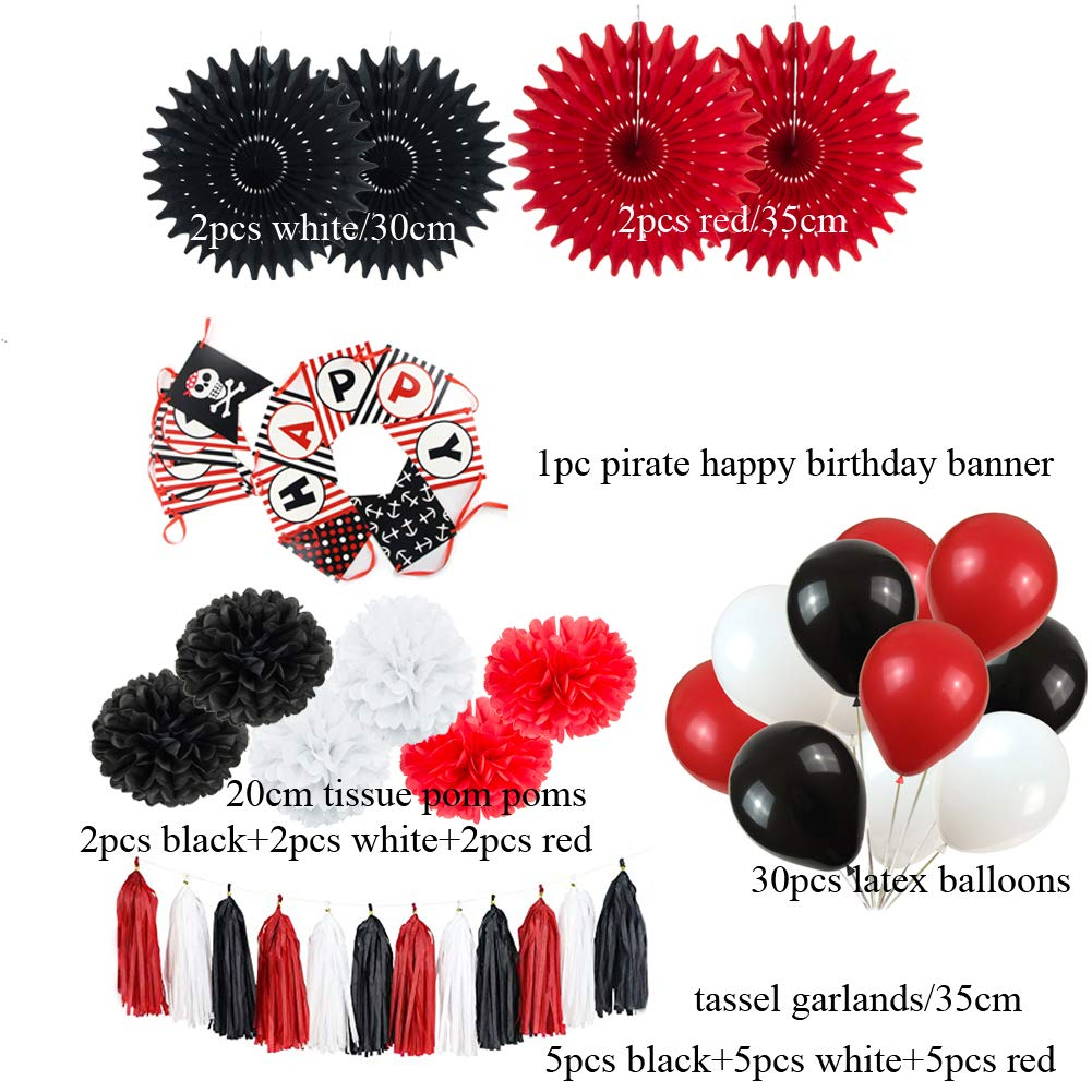 SUNBEAUTY Pirate Theme Birthday Party Supplies Kids Birthday Pirate Party Decorations