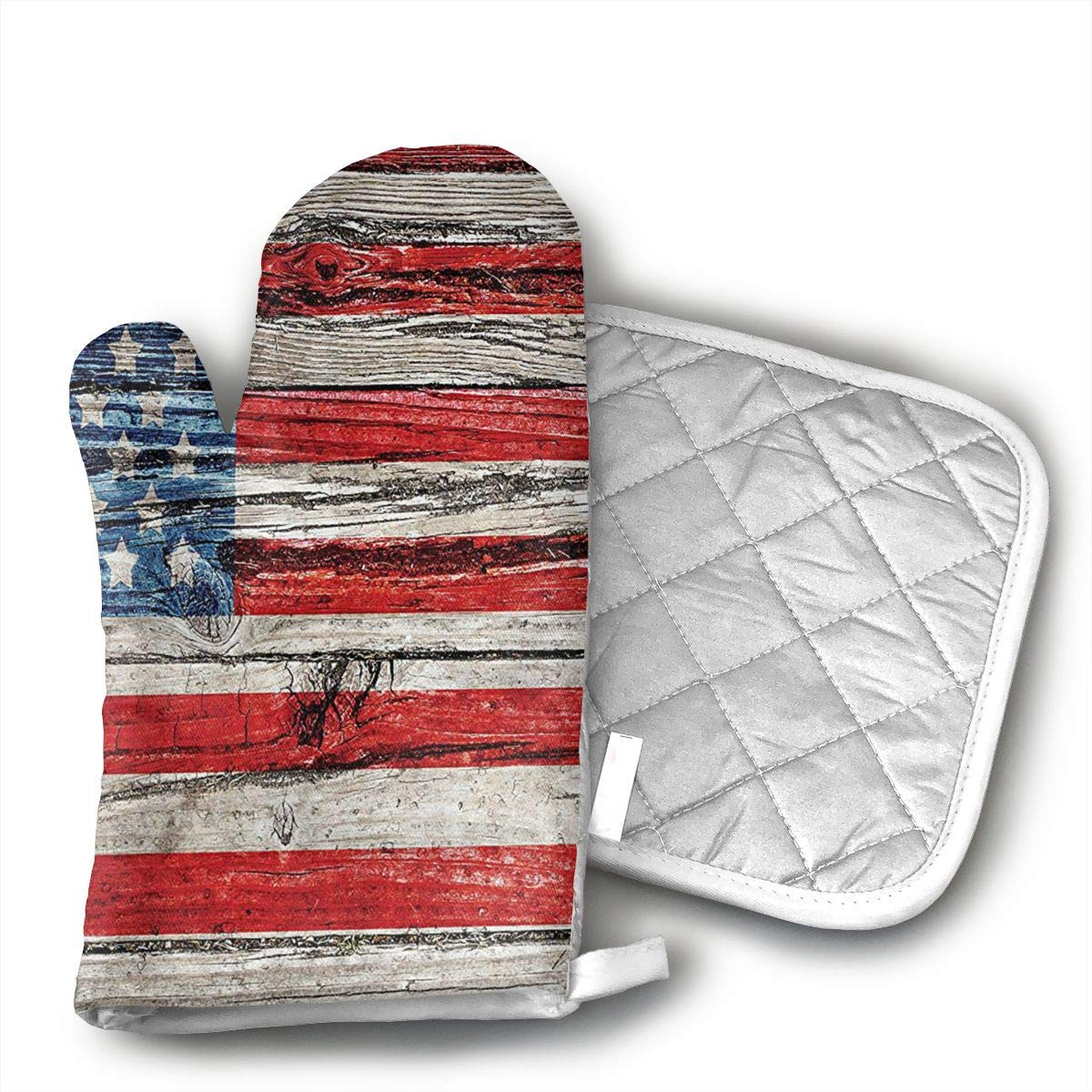 GUYDHL Unisex Oven Mitt and Pot Holder for Painted Old Wooden Panel Wall Looking Freedom Symbol - 2 Pair