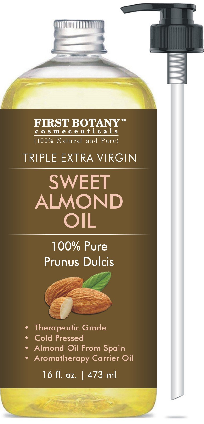 Cold Pressed Sweet Almond Oil - Triple AAA+ Grade Quality, for Hair, for Skin and for Face, 100% Pure and Natural from Spain, 16 fl oz by First Botany Cosmeceuticals
