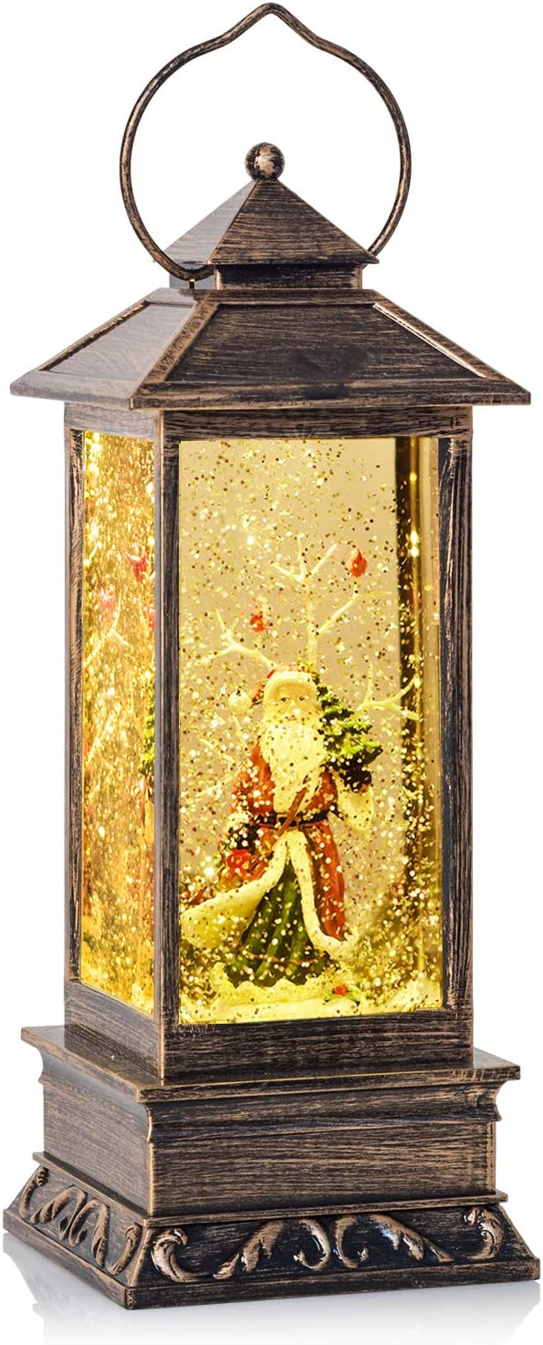 DearHouse Singing Musical Lighted Christmas Snowman Water Glittering Swirling Snow Globe Lantern with Music Christmas Home Decoration and Gift Snowman Family, Battery Operated (Santa)
