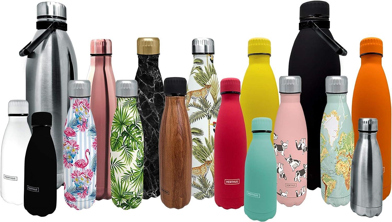 NERTHUS FIH 593 593-Termo Doble Pared para frios y Calientes Diseño INOX 1500 ml Libre de BPA, Tapon Hermético, Acero Inoxidable 18/11