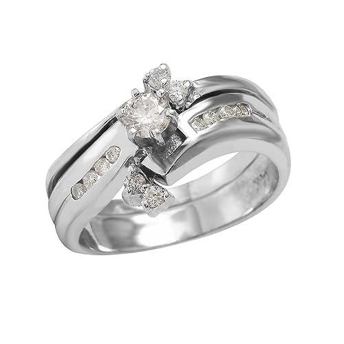 Anillos de boda de oro blanco de 14 quilates con diamante natural de 0,45