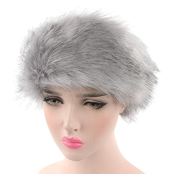 89d3737dabdfa DOSOMI Winter Faux Fox Fur Hat Women Headband Thick Warm Soft Fluffy Fur  Caps Ear Warmer Russian Hats