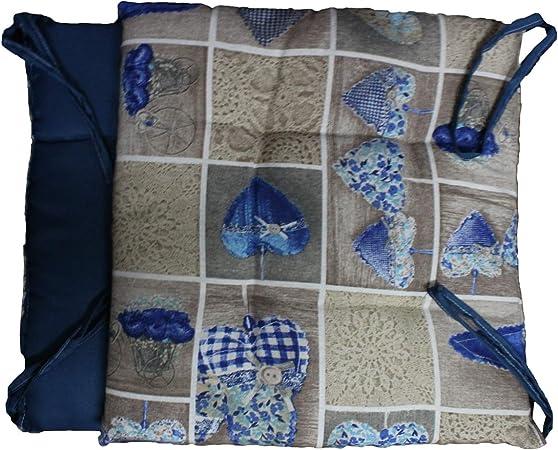 Russo Tessuti 6 Cuscini Sedie Cucina Coprisedia Imbottiti Cuore Allungato Laccetti Vari Colori Blu