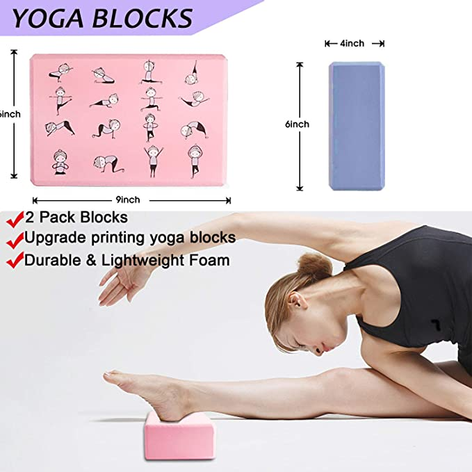 8 Piece Yoga Set, 2 EVA Foam Soft Non-Slip Yoga Blocks 9×6×4 inches, 1 Yoga Strap, 1 Yoga Towel, 1 Yoga Carry Bag, 2 Knee Pads and Yoga Book for ...