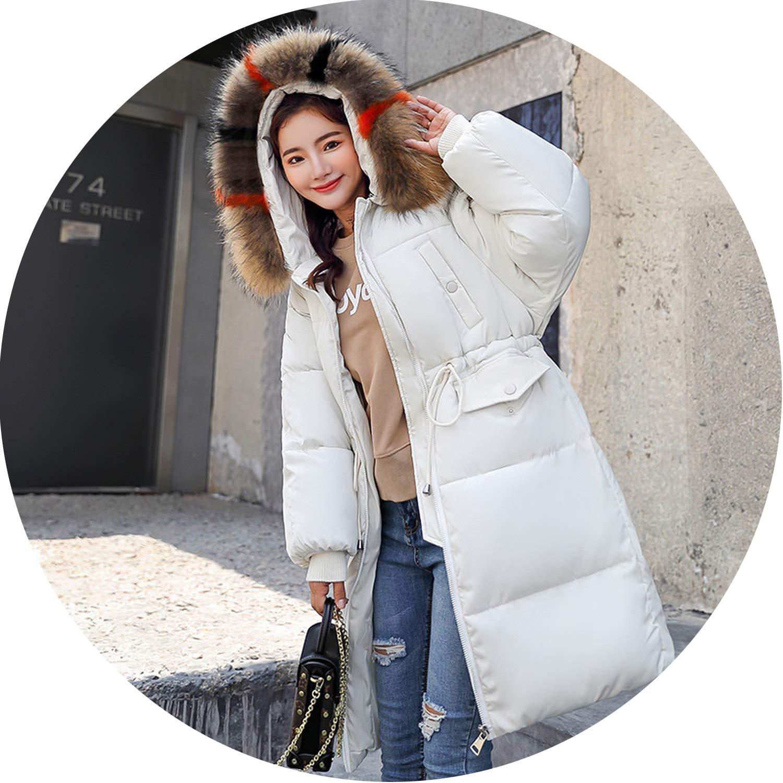 Winter Jacket Women Long Thicken Warm Parkas Waist Tie Slim Down Cotton Padded Coats
