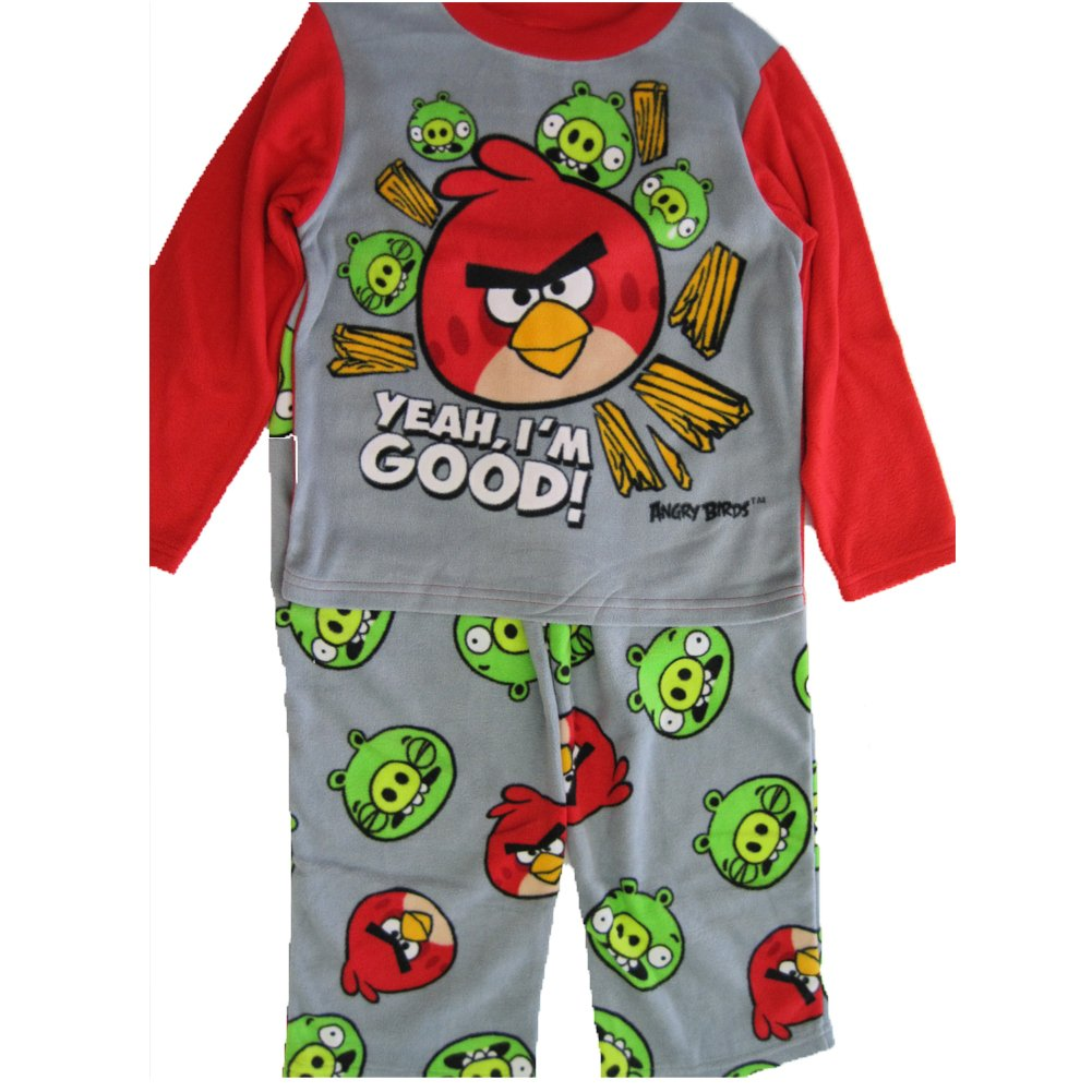 Angry Birds Big Boys Grey Red Character Printed 2 Pc Pajama Set 8-10 ABC Brand Name Inc.