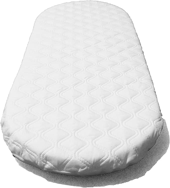 Moses Basket Foam Mattress Bassinet Baby PRAM Oval Fully Breathable Quilted Size 70 X 31 X 3.5 cm
