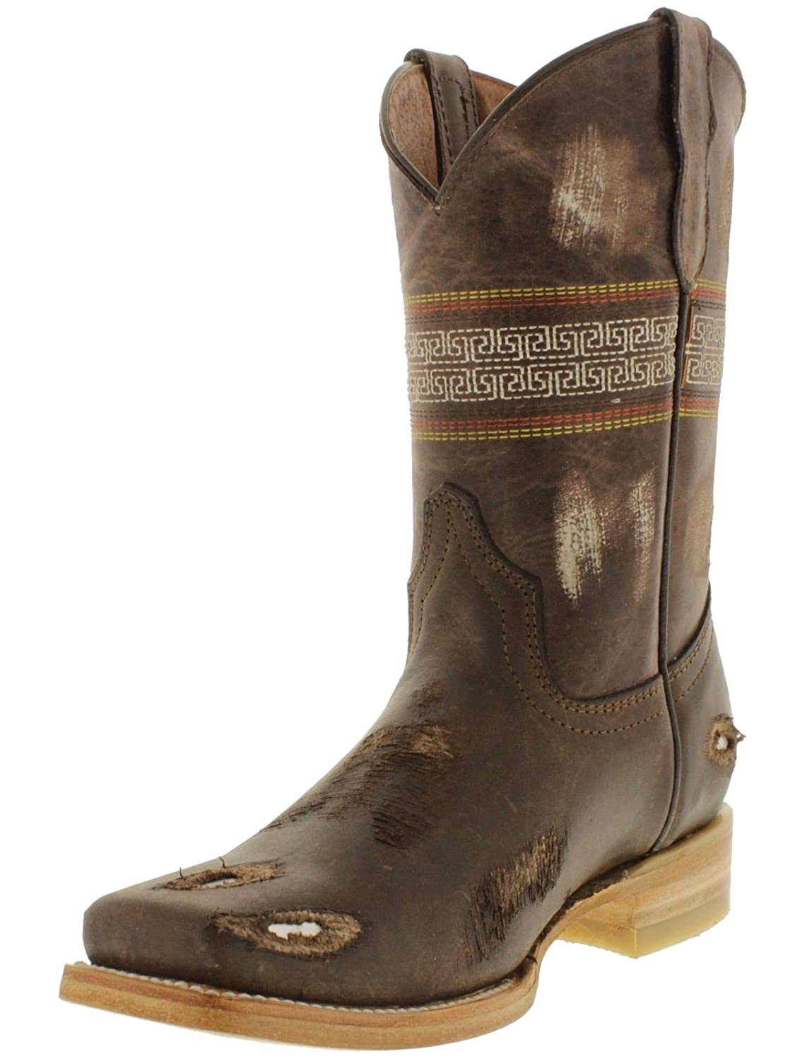Kids Boys New Genuine Leather Durbale Cowboy Western Boots Square Toe Brown