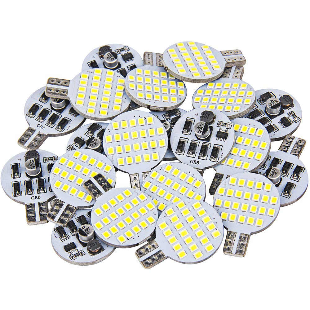 Ultra Bright T10 921 912 LED Bulb for RV Indoor Lights Camper Trailer Motorhome and Marine Boat 12V Interior Dome Light (Pack of 20, Pure White)