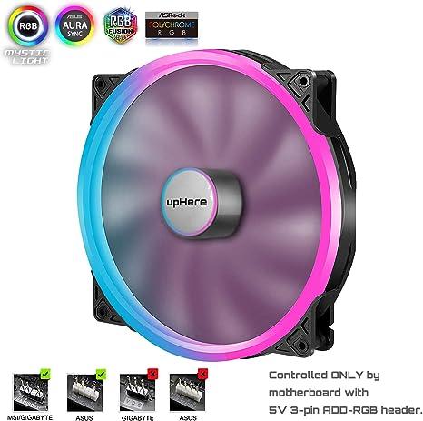 upHere PWM RGB LED Ventilador de Carcasa de Ordenador 200 mm de ...