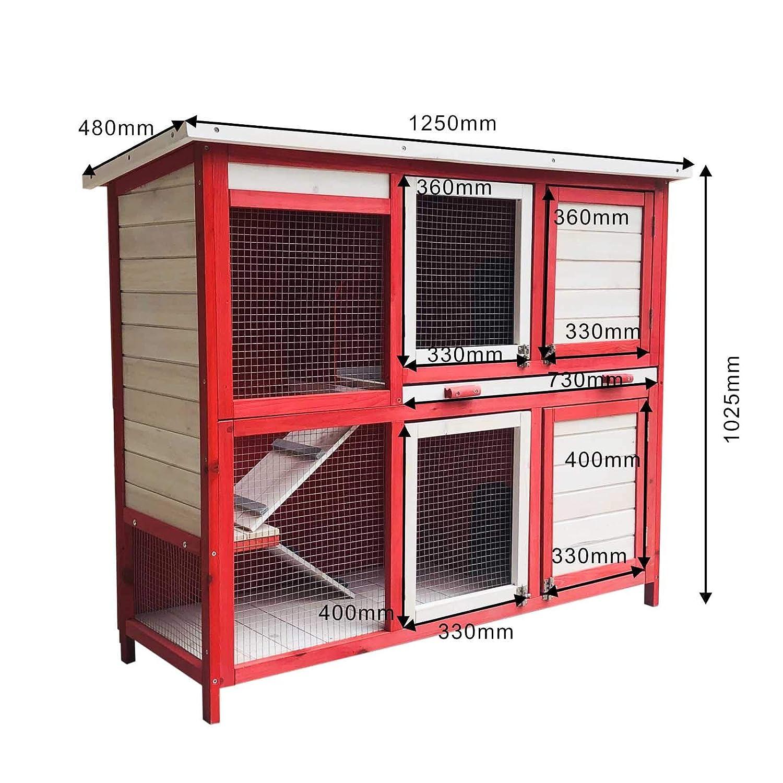 Conigliera su due piani con scaletta e aree di riposo casetta per conigli con pavimento estraibile