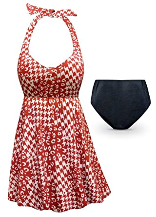 4554e22e22 Rusty Red Print 2 Piece Halter Style Plus Size Supersize Swimdress ...