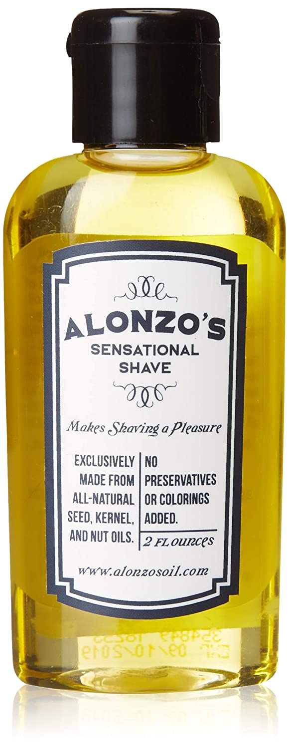 Alonzo's Natural Shaving Oil for Men - Pre Shave, After Shave, Beard Oil for Face Body & Head - 2 oz