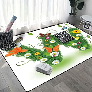 Letter W Rugs for Living Room 5x8 Ft, Nature Inspired Green Foliage with Wildflowers Various Butterflies Vivid Palette Carpet, Multicolor