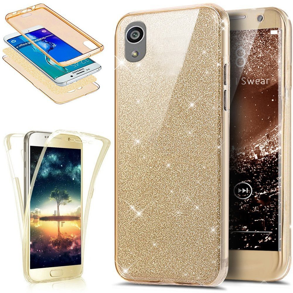 Coque Sony Xperia XA, Etui Sony Xperia XA, Sony Xperia XA Ultra Fine TPU Silicone Coque Paillette Strass Brillante Bling Bling Glitter, KunyFond 360 Degres Protection INTEGRAL Avant + Arriere Anti Choc Coque de Protection avec Absorption de Choc et Anti-Sc