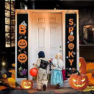 Yoruii Halloween Decorations Outdoor Trick or Treat Hanging Decorations Halloween Welcome Banners for Front Door Wall Indoor Outdoor Home Office Decorations