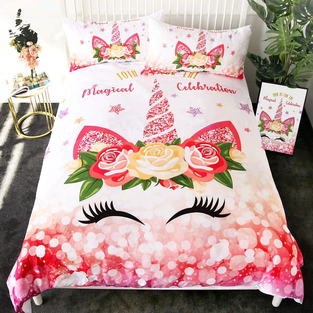 Sleepwish Unicorn Twin Bedding for Girls 3 Pieces Cute Glitter Tropical Floral Duvet Cover Set Horn Unicorn Lashes Pink and Gold Bedspread