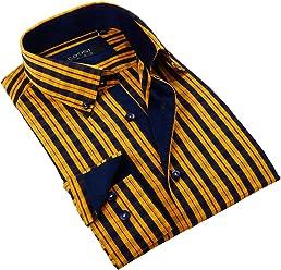 BriO Milano Mens Dress Shirt, Small, yellow-navy