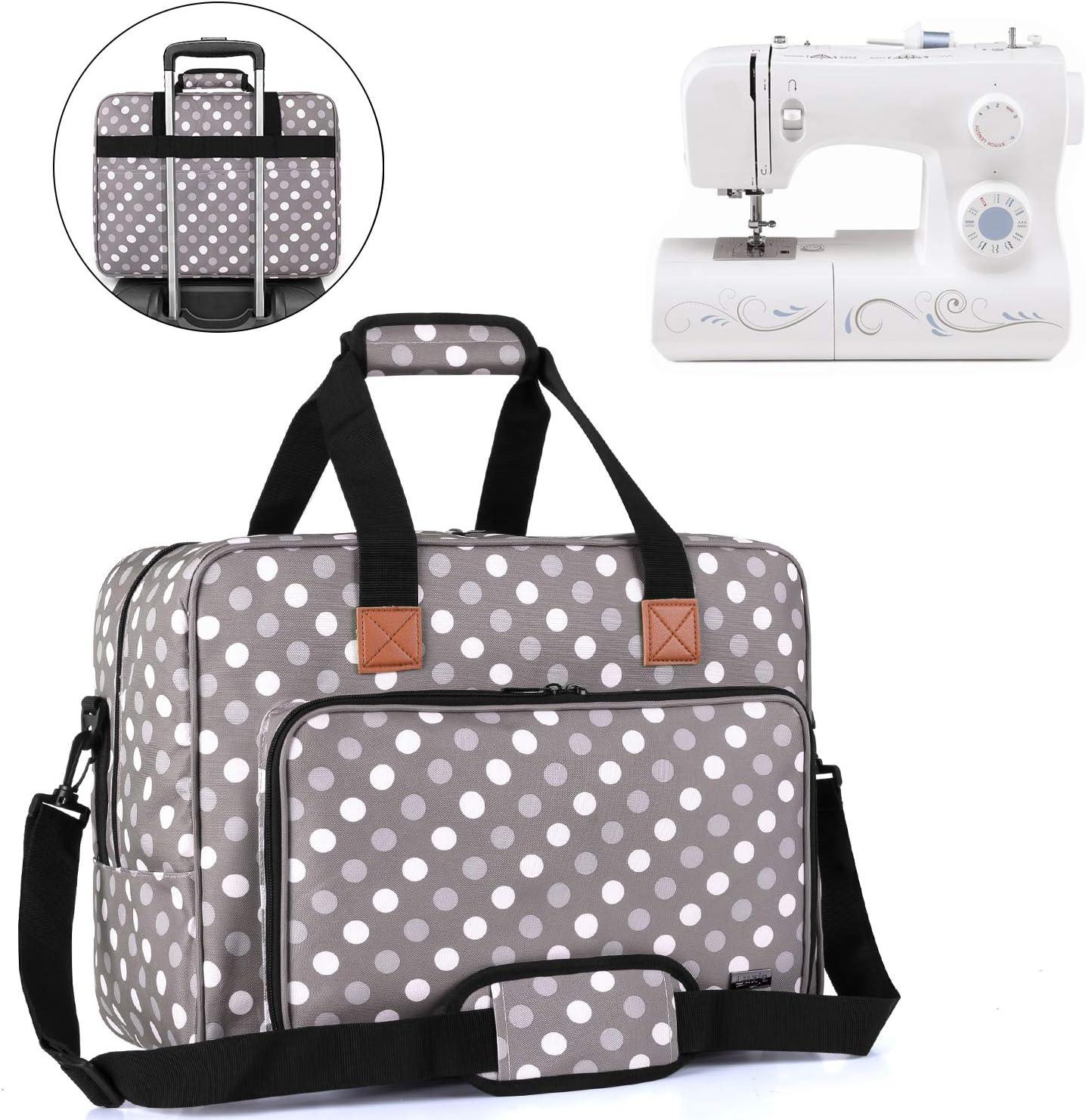 Luxja Bolsa para Máquina de Coser, Bolso Portátil para Máquina de Coser y los Accesorios de cosedora, Puntos Grises