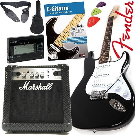 Fender Squier Bullet Strat guitarra eléctrica con original Marshal 10 W Amplificador con tecnología Contour,