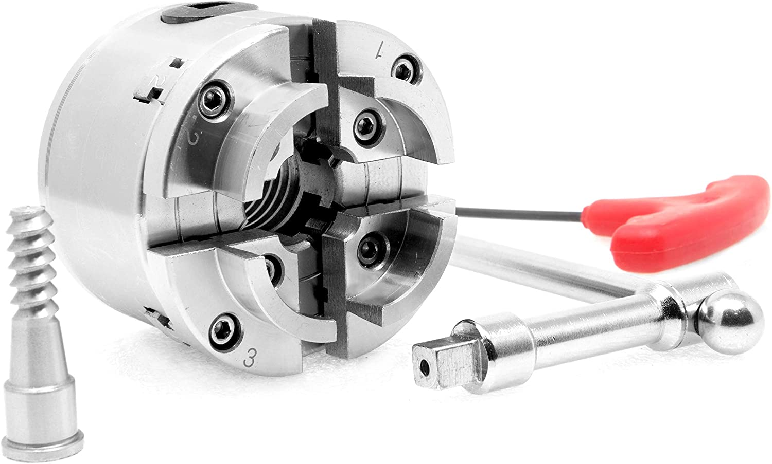WEN LA4275 2.75-Inch 4-Jaw Self-Centering Keyed Lathe Chuck Set with 1-Inch x 8TPI Thread