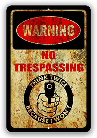 PRIVATE PROPERTY THINK TWICE metal sign weatherproof skull 2 guns cowboy hat