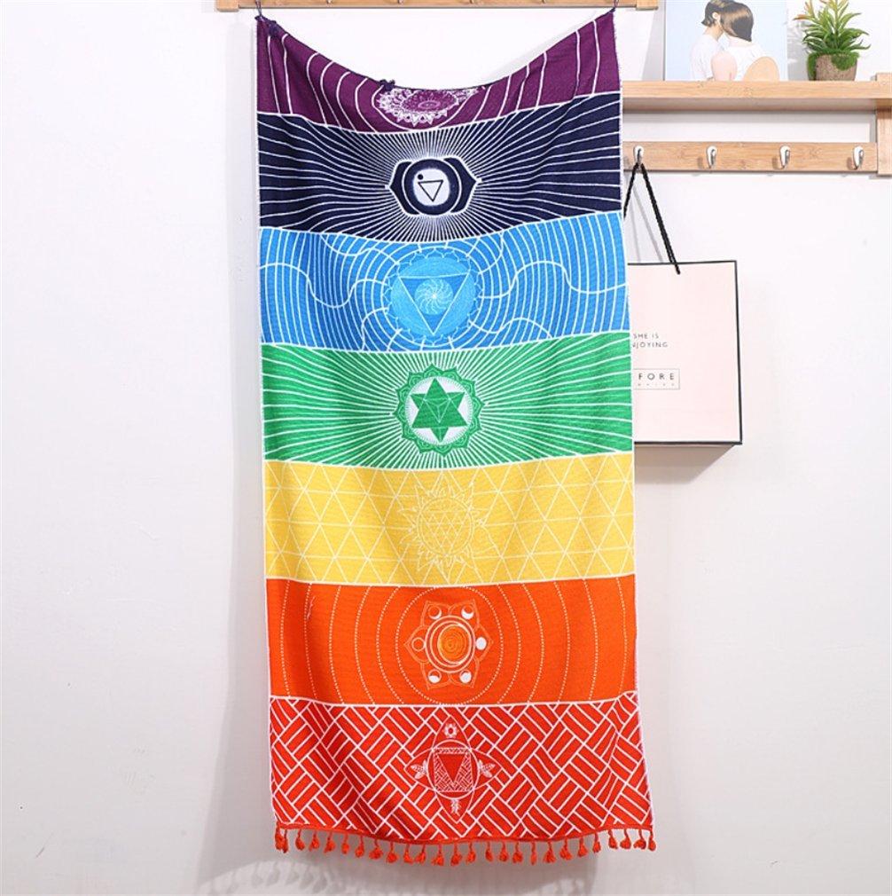 Enipate colgante de pared India Rainbow tapiz Mandala Bohemia manta de algodón Chakra manta para baño toalla yoga mat: Amazon.es: Hogar