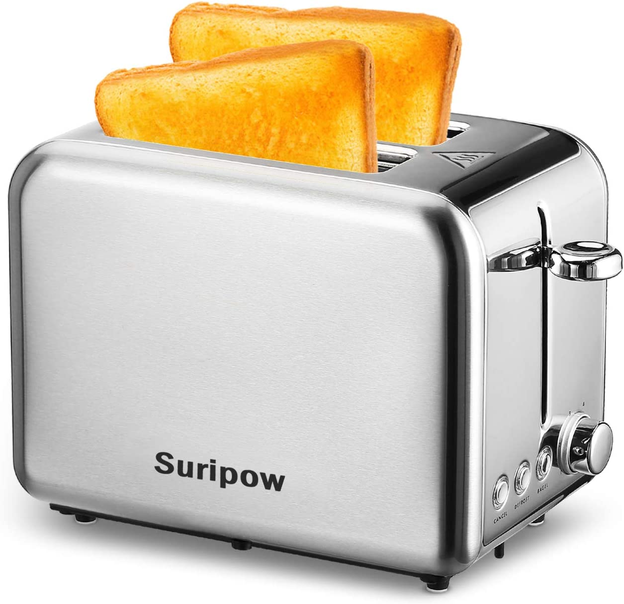 Toaster 2 Slice ,Suripow Stainless Steel Toaster 2 Slice Best Rated Prime Wide Slots Toasters 6 Shade Settings with Removable Crumb Tray for Bread, Bagel, Cancel/Defrost/Bagel Function, 900W