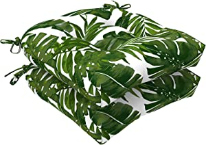 """LVTXIII Indoor/Outdoor U-Shaped Wicker Seat Cushion, Decorative Tufted Chair Pads Seat Cushions Set for Patio Garden Home Office Furniture, 19""""x19""""x5"""", 2 Pack, Palm Green"""