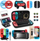 Switch Accessories Bundle, Kit with Carrying Case, Protective Case with Screen Protector, Compact Playstand,Game Case…