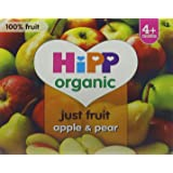 HiPP Organic From 4+ Months Purely Fruits Apple and Pear 4 x 100 g (Pack of 6, Total 24 Pots)