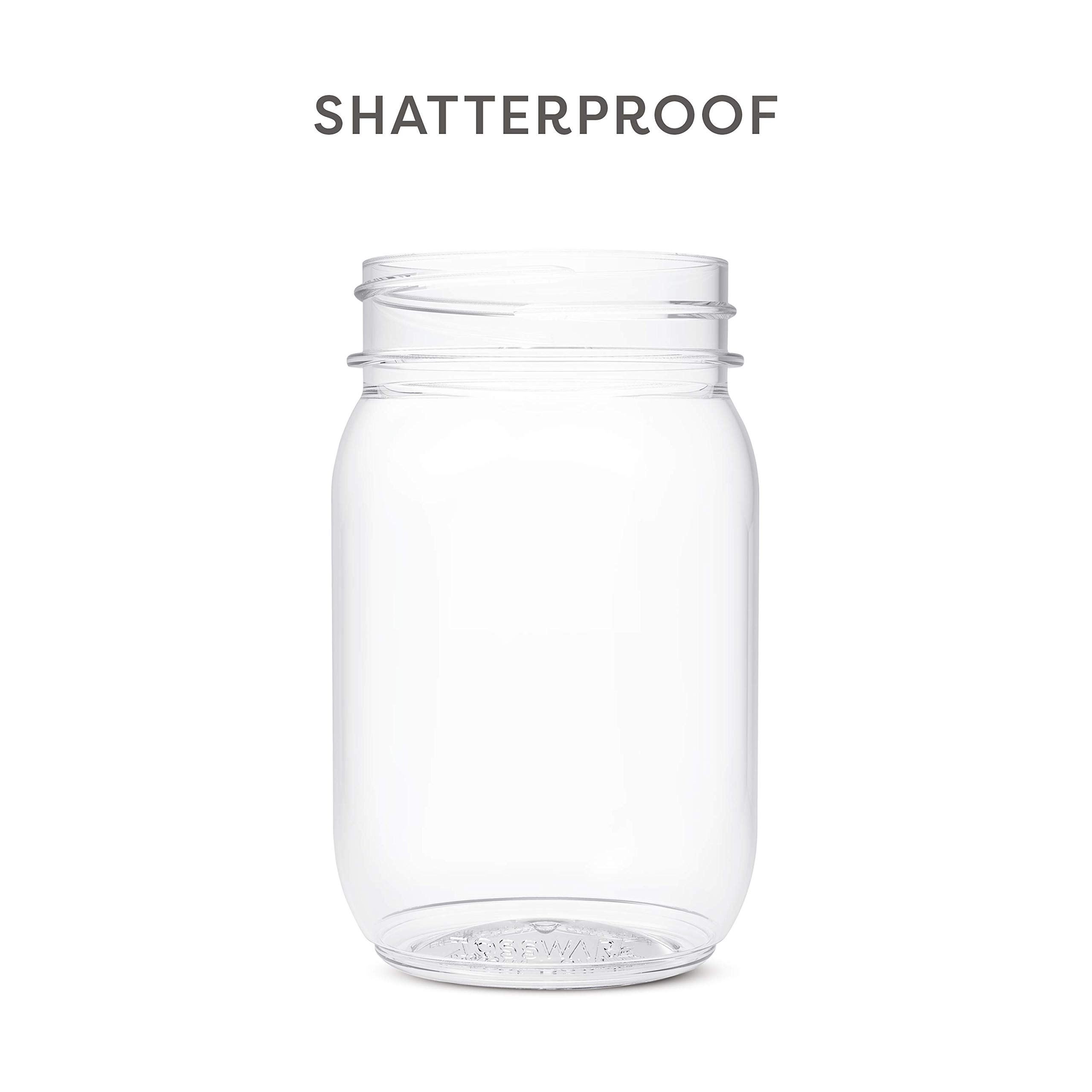 TOSSWARE 16oz Mason Jar - Set of 48- Recyclable Plastic Mason Cocktail Cup, Shatterproof and BPA-free Drinking Jar by TOSSWARE (Image #5)