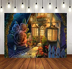 SDDSER Fairy Tale Background Castle Flowers Night Photo Backgrounds for Children Adults Birthday Party Backdrop Photography 7X5FT Party Supplies MSDHX240