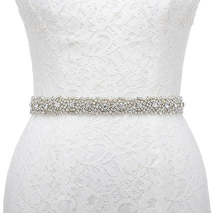 Remedios Handmade Dazzling Rhinestone Wedding Party Prom Sash Bridal Belt For Women,Ivory