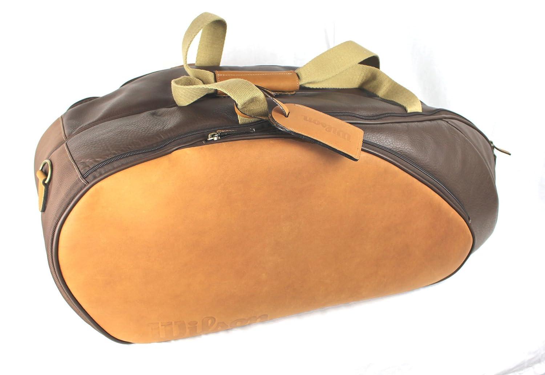 Amazon.com : Wilson Leather 6 Pack Tennis Racquet Bag : Sports ...
