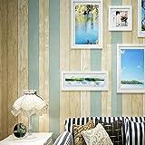 壁紙 アンティーク 地中海風 不織布 フリース ノスタルジックな寝室のリビングルームテレビの壁の壁のストライプ DIY 模様替え リフォーム 高品質な不織布素材 53cm*10M (木目調 青&黄)