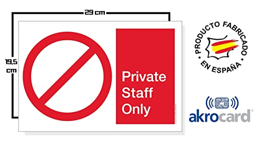 Cartel resistente PVC - PRIVATE STAFF ONLY - Señaletica de ...