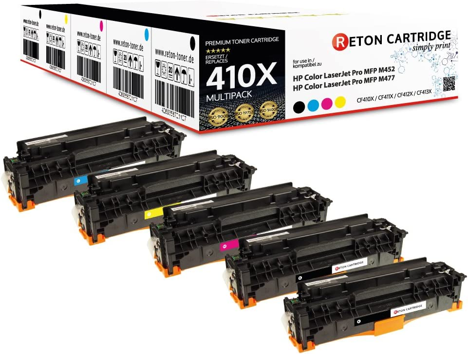 5 Reton Toner Mit 25 Mehr Leistung Kompatibel Für Cf410x Cf411x Cf412x Cf413x Für Hp Color Laserjet Pro Mfp M477fdw M477fdn M477fn M477fnw M452dn M452nw M377dw Bürobedarf Schreibwaren