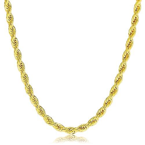 Einkaufen Shop für Beamte Qualität zuerst Herren Gold Halskette - Edelstahl 18K vergoldet Kette 45cm-70cm von Vcmart