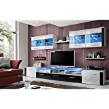 MOON Contemporary Entertainment Centre / Modern and Spacious Wall Unit for living room – with or w/out LED lights (White and black WITHOUT LEDS)